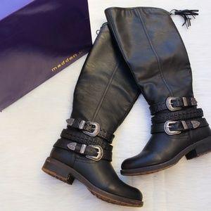 Madden Girl Calf High Buckle Carrage Boots